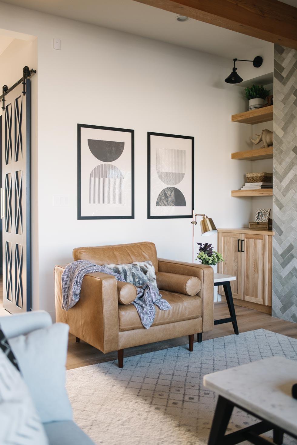 Warm Modern Living Room Edmonton Based Interior Designer