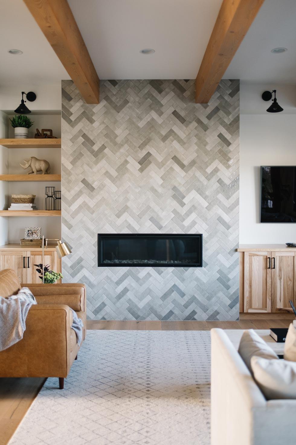 Warm Herringbone Tiled Fireplace