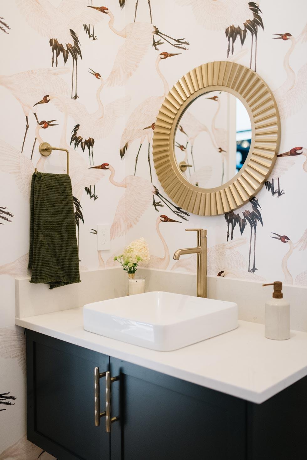 Wallpaper 1/2 bath Edmonton Based Designer Marissa Biggs