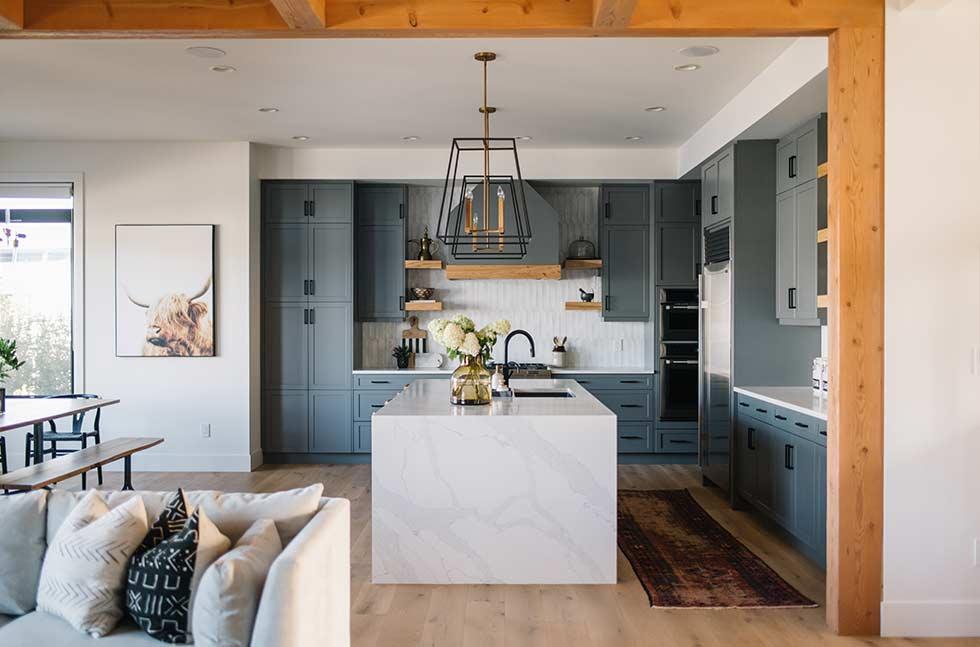 Warm Modern Kitchen with Grey Cabinets Edmonton Based Designer Marissa Biggs